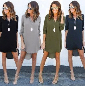 Long Sleeve Chiffon Ladies V Neck Loose Short Dress