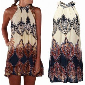 Loose Chiffon Sexy Sleeveless Boho Beach Mini Dress