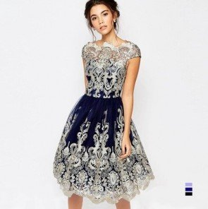 Women Fluffy Elegant Lace Yarn Embroidered Retro Dress