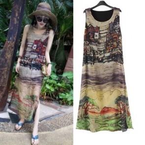 Halter Loose Long Dresses Sleeveless Maxi Dress Skirt