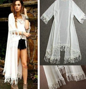 Long Shirt Dress Lace Crochet Swimwear Chiffon Clothes