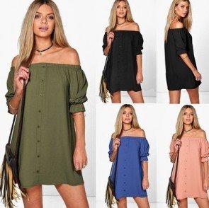 Short Sleeves Mini Casual Slash Neck Long Blouse Dress