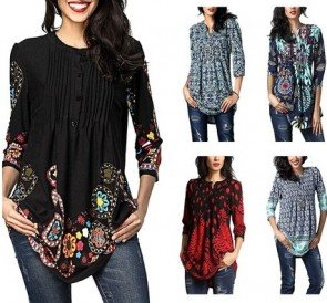Notch Neck Pintuck Casual Tunic Loose Tops Blouse