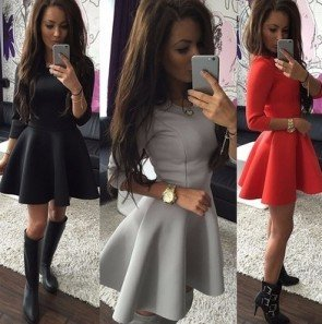 3/4 Sleeve Sexy Evening Party Bodycon Mini Skater Dress