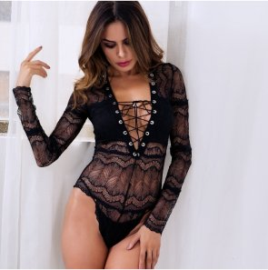 Rope V-neck long-sleeved lace sexy one-piece underwear