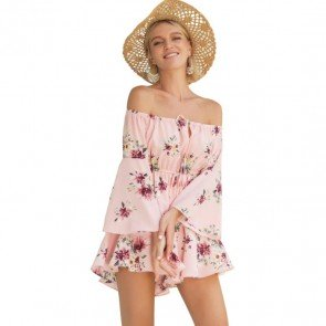 Floral Casual Romper Short Sleeve Off Shoulder Playsuit