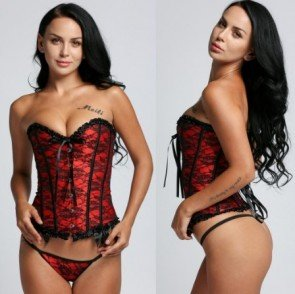 Sexy Lingerie Basques Red Floral Lace Overbust Corsets