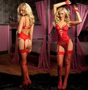 Lace Dress G-string Glove Garter Sleepwear Underwear
