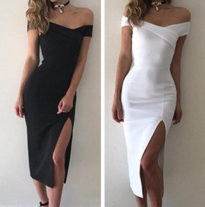 Sexy Shoulder Split Dress Slim Midi Bodycon Hip Dress
