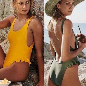 Padded Swimwear Sexy Beach Ruffles One Piece Bikini