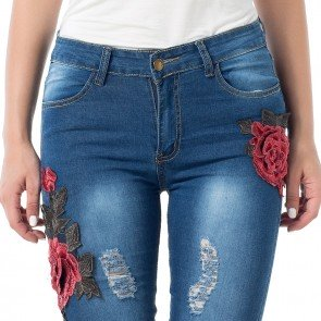 Embroidery Skinny Ripped Jeans Pencil Denim Tight Pants