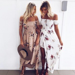 Boho Off Shoulder Floral Print Summer Beach Maxi Dress