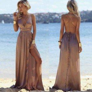 Sexy Satain V-Neck Bandage Clubwear Maxi Side Slit Dress