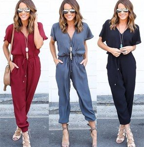 Women Elegant Evening Party Playsuit Long Loose Pants