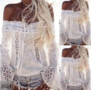 Lace Blouse Plus Size Clubwear Flare Sleeve Clothing