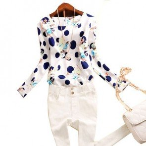Casual Chiffon Shirts Blouses Polka Dots Long Sleeve