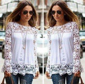 Sheer Sleeve Embroidery Lace Crochet Chiffon Shirt