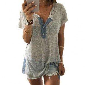 Ulamore Loose Casual Button Blouse T Shirt Tank Tops