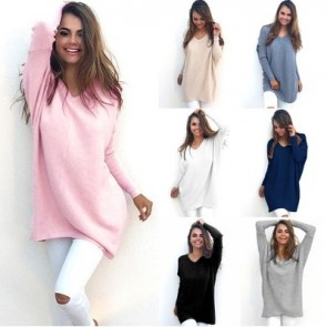 V-Neck Loose Knitted Oversized Baggy Sweater Jumper Top