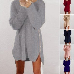 Warm Loose Above Knee Plain Knitted Zipper Sweater