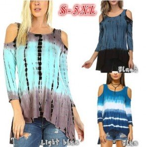 Women's Tie Dye Top Cold Shoulder Asymmetric Tunic Tee