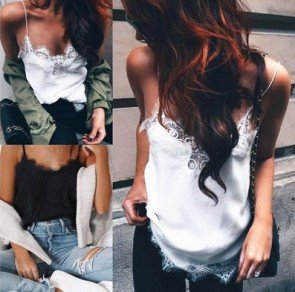 Chiffon Lace Patchwork V-Neck Vest Sleeveless Tank Tops