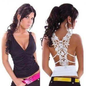 V-neck lace hollow-out the skirt with shoulder-straps