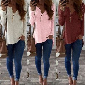 Women Long Sleeve V-neck Casual Loose White T-shirt