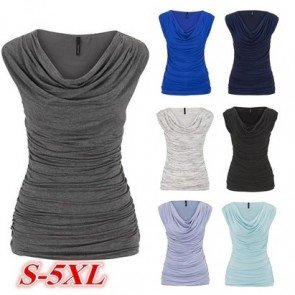 Sleeveless V-neck Pleated Pure Color Casual Slim Tops