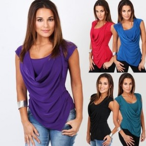 Ruched Sleeveless Chiffon Tunic Drape Slim Fit T-shirt