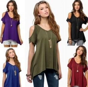 Off Shoulder Ladys Casual Loose T-shirts Soft Cotton
