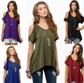 Off Shoulder Casual Loose T-shirts Tops Soft Cotton