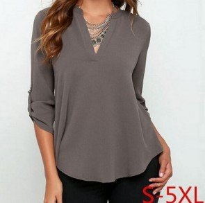 V Collar Long Corrugated Sleeve Easy Shirt Plus Size