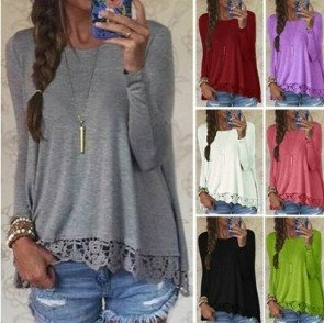 Crew Neck Long Sleeve Lace Crochet Casual Loose Tops