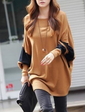 Round Neck Bat Sleeve Simple Casual Loose Tops Sweaters