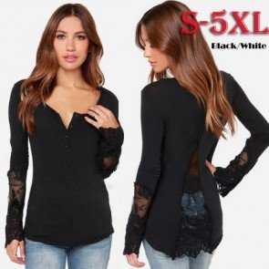 Patchwork Lace Long Sleeve Shirt Blouse V Neck Jumper