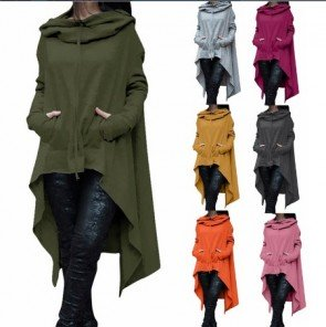Draw Cord Long Sleeve Loose Casual Poncho Hooded Coat