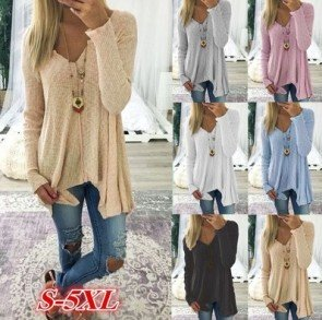 Long Sleeve V-neck Pure Color Sexy Loose Knitted Tops