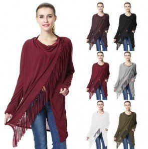 Irregular Tassel Blend Cardigan Loose Sweater Outwear