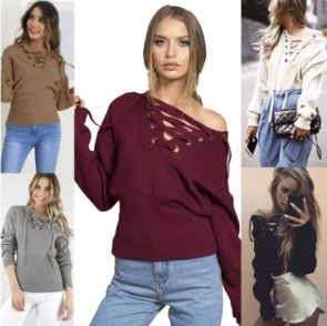Autumn Women Sexy Strapless Chest Strap Deep V Sweater