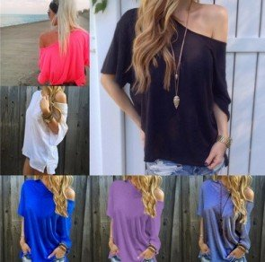 Half Sleeve Blouse Loose Solid Color Tee Shirt Tops