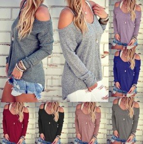 Loose O-neck Off Shoulder Long Sleeve Knitted Sweater