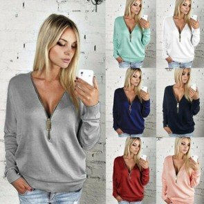 Long Sleeved T-shirt Deep V Neck Blouse Pullovers Shirt
