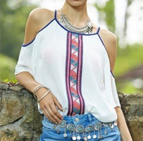Chiffon Blouse Ladies Off Shoulder Bohemian Shirt Top