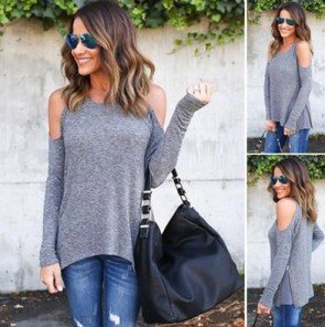 Long Sleeve Shirt Casual Lady Blouse Loose Tops T Shirt