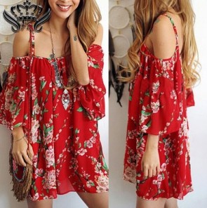 Off shoulder strapless women sexy casual beach dress