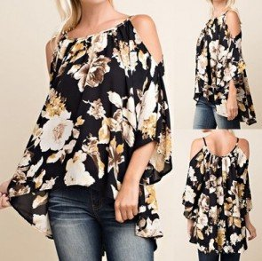 Off Shoulder Strap Tops 3/4 Sleeve T-shirt Blouse