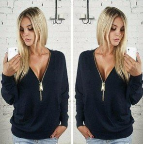 V Collar Zipper Sweater Long Sleeved T-shirt Plus Size