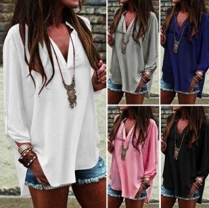 Loose Baggy Casual Chiffon T Shirt Blouse Plus Size