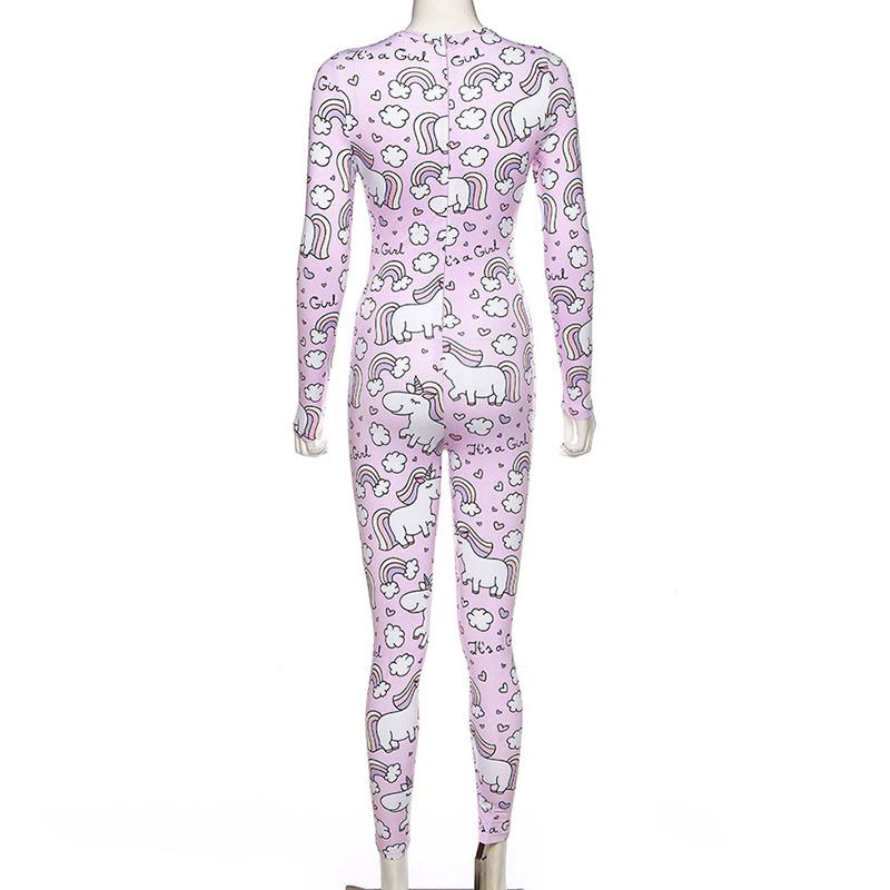 Slim Fitness Overalls Unicorn Rainbow Print Jumpsuit